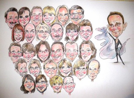 Group caricature in colour size A2