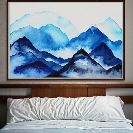 """Solid Mountains Behind You"" Above a Bedframe"