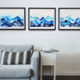 Blue Mountain Series Framed Above a Couch