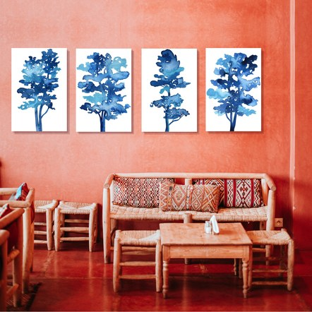4 Blue Tree Series in a Peach room