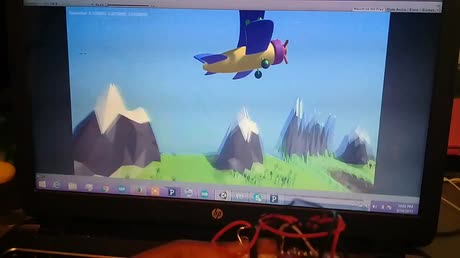 An endlessly flying toy plane in Unity that is controlled by an ADXL 335 accelerometer sensor via Arduino