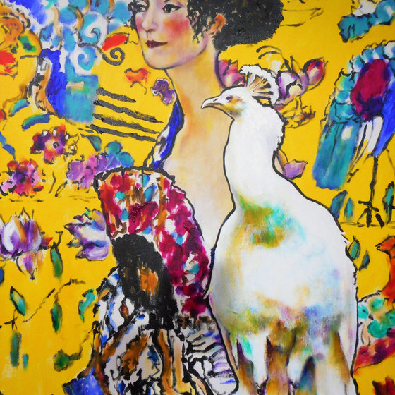 Lady with Peacock (after Gustav Klimt)