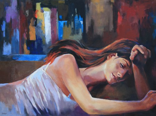 "Joro Petkov, Oil on canvas, Portrait, ""Dreaming"", # 6"